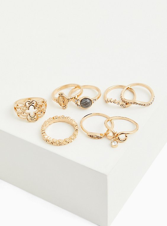 Plus Size Gold-Tone & Grey Marble Faux Stone Ring Set - Set of 8, GOLD, hi-res