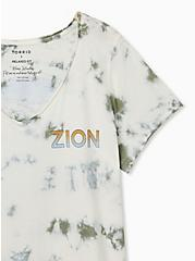 Zion Classic Fit V-Neck Tee - Tie-Dye Olive Green, SAGE, alternate