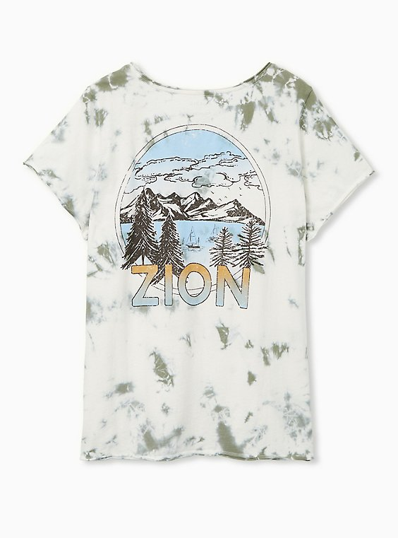 Zion Classic Fit V-Neck Tee - Tie-Dye Olive Green, SAGE, hi-res