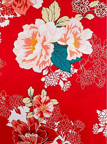 Bright Red Floral Tie-Front Underwire Bikini Top, MULTI, alternate