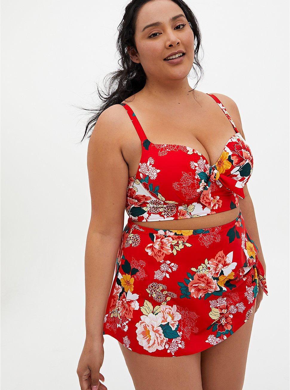 Bright Red Floral Tie-Front Underwire Bikini Top, MULTI, hi-res