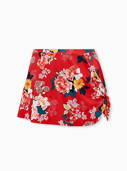 Bright Red Floral Asymmetrical High Waist Swim Skirt, MULTI, hi-res