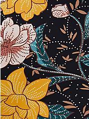 Black Floral Tie Front Wireless Swim Crop Top, MULTI, alternate