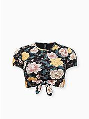 Black Floral Tie Front Wireless Swim Crop Top, MULTI, hi-res