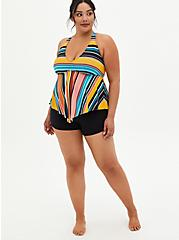 Multi Stripe Wireless V-Neck Tankini Top, MULTI, alternate