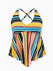 Multi Stripe Wireless V-Neck Tankini Top, MULTI, hi-res