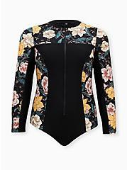 Black Floral Zip Front Rash Guard One-Piece Swimsuit, DEEP BLACK, hi-res