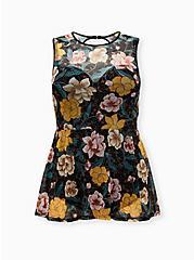 Black Floral Mesh Underwire Peplum One-Piece Swim, MULTI, hi-res