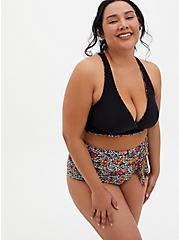 Black & Leopard Floral Reversible Wireless Triangle Bikini Top, MULTI, alternate