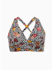 Black & Leopard Floral Reversible Wireless Triangle Bikini Top, MULTI, hi-res