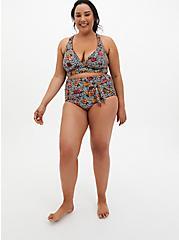 Leopard Floral High Waist Tie-Front Swim Bottom, , fitModel1-alternate