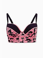 Pink Cat Print Underwire Bikini Top, MULTI, hi-res