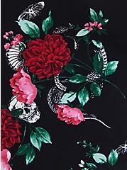 Black Floral Wireless V-Neck Tankini Top, MULTI, alternate