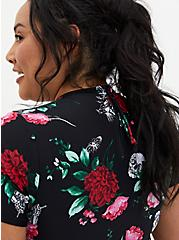 Black Floral Wireless Crop Rash Guard, MULTI, alternate