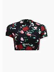 Black Floral Wireless Crop Rash Guard, MULTI, hi-res
