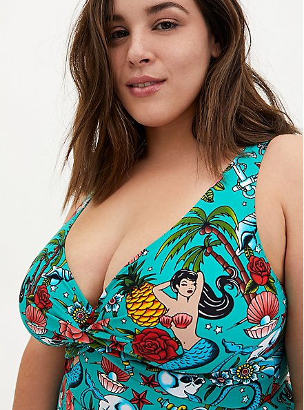 Aqua Tattoo Print Wireless Asymmetrical One-Piece Swim Dress, MULTI, alternate