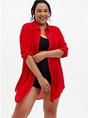 Red Crinkled Gauze Woven Mini Shirt Dress Swim Cover-Up, RED, alternate