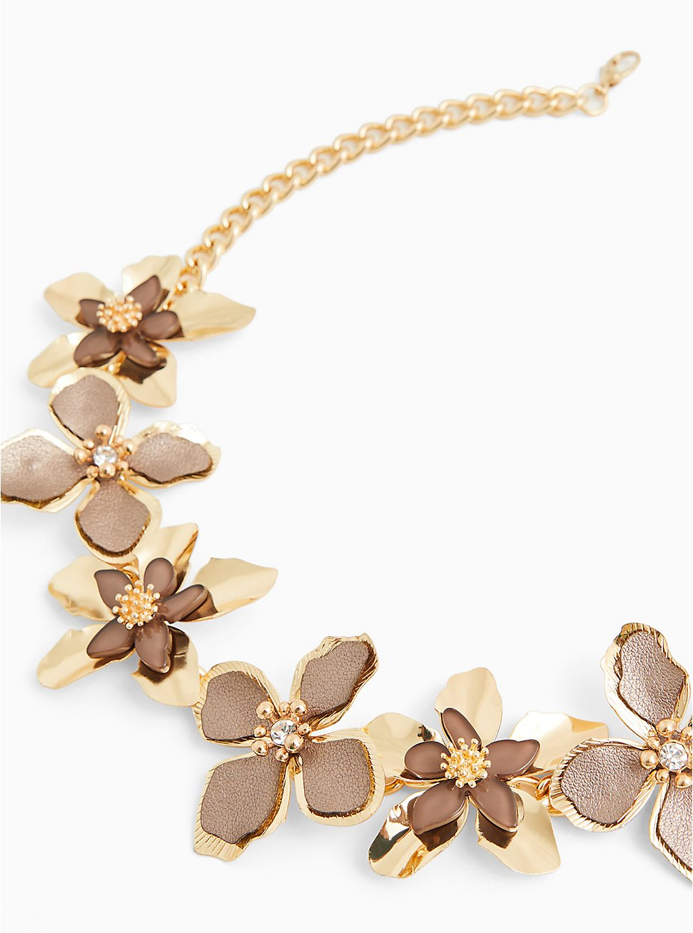Gold-Tone & Taupe Floral Necklace, , hi-res