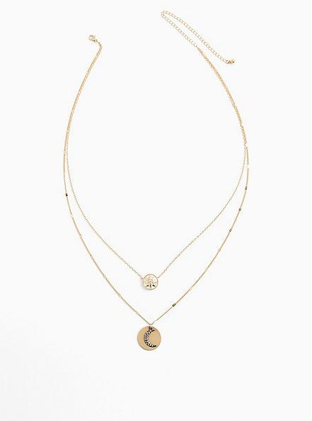 Plus Size Gold-Tone Celestial Layered Necklace , , alternate