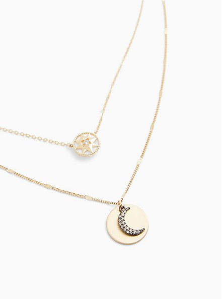 Plus Size Gold-Tone Celestial Layered Necklace , , hi-res