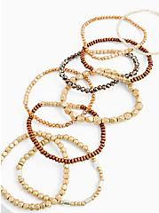 Brown & Gold Beaded Stretch Bracelet Set Of 9, BROWN, alternate
