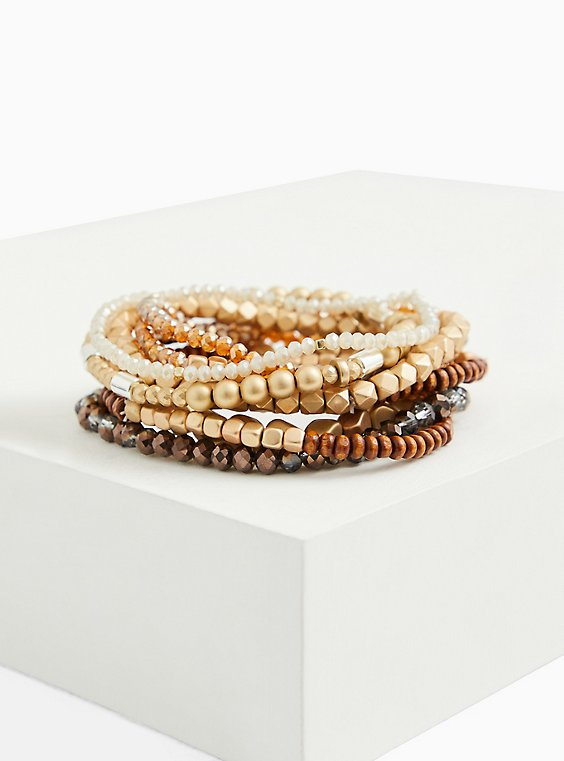 Brown & Gold Beaded Stretch Bracelet Set Of 9, BROWN, hi-res