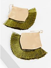 Matte Gold-Tone Light Olive Green Fan Earrings, , hi-res