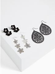 Black Filigree & Floral Earrings- Set Of 3, , alternate