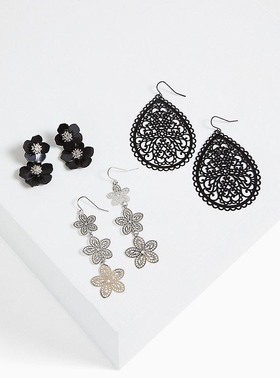 Black Filigree & Floral Earrings- Set Of 3, , hi-res