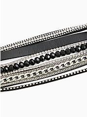 Black Faux Leather & Chain-Link Magnetic Bracelet, BLACK, alternate