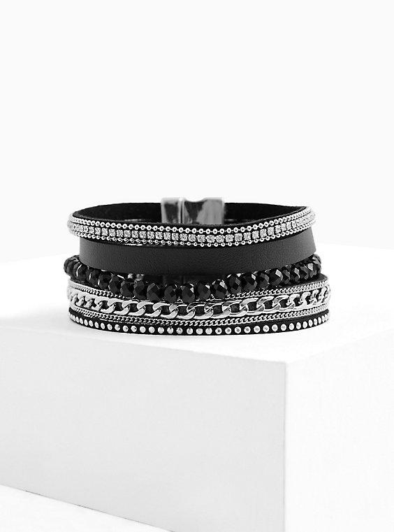 Black Faux Leather & Chain-Link Magnetic Bracelet, , hi-res