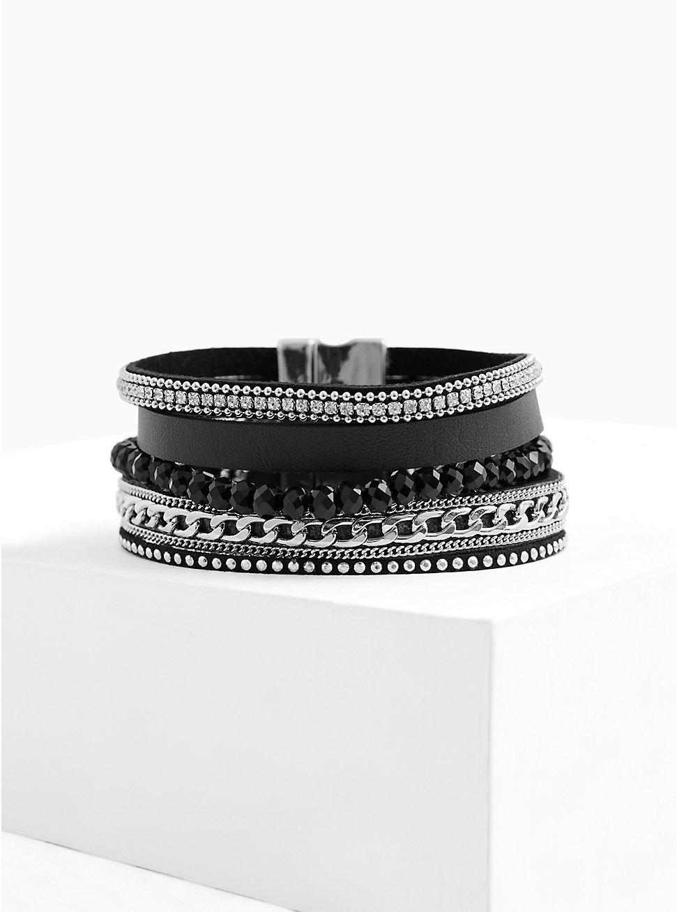 Black Faux Leather & Chain-Link Magnetic Bracelet, BLACK, hi-res