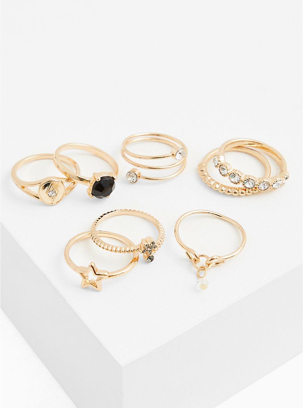 Gold-Tone Black Faux Stone Ring Set - Set of 8, SILVER, hi-res