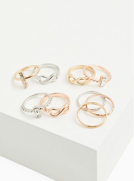 Rose Gold-Tone Infinity Ring Set - Set of 9, MULTI, alternate