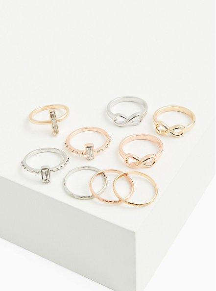 Rose Gold-Tone Infinity Ring Set - Set of 9, MULTI, hi-res