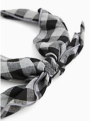 Black & White Buffalo Plaid Headband, , alternate