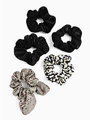 Grey Floral Bow Hair Tie Pack - Pack of 5, , alternate