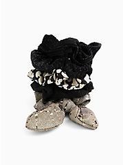 Grey Floral Bow Hair Tie Pack - Pack of 5, , hi-res
