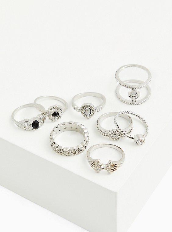 Silver-Tone Black Faux Stone Ring Set - Set of 8, BLACK, hi-res