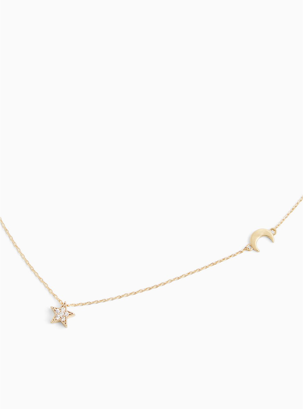 Plus Size Gold-Tone Moon & Rhinestone Star Delicate Necklace, , hi-res