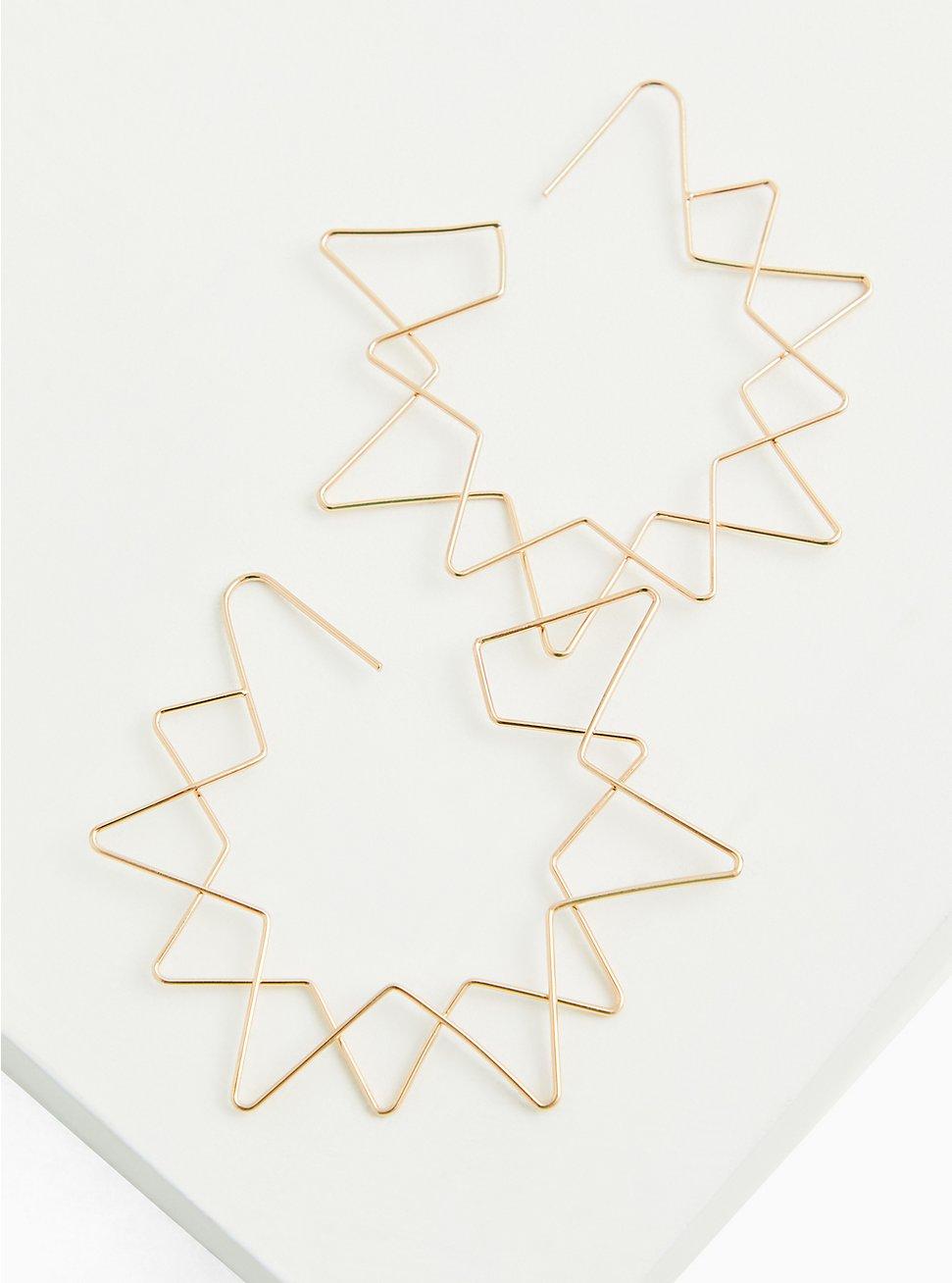 Gold-Tone Star-Shape Hoop Earrings, , hi-res
