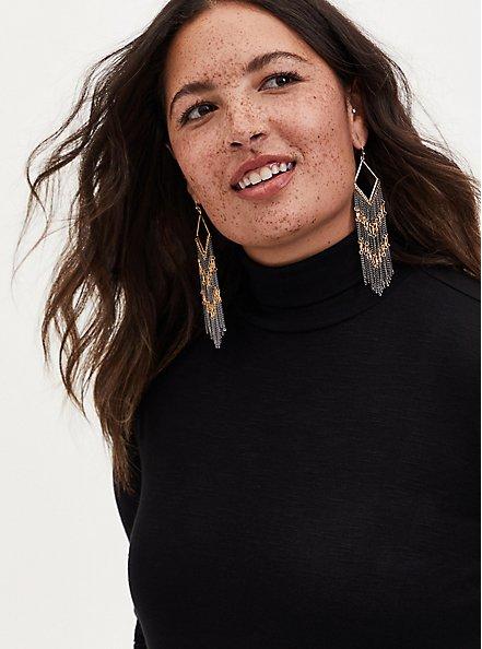 Black & Gold Chevron Fringe Earrings, , hi-res