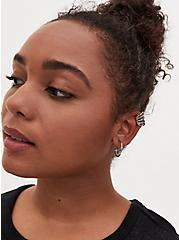 Plus Size Silver-Tone Huggie Hoop & Stud Earrings Set - Set of 6, , hi-res