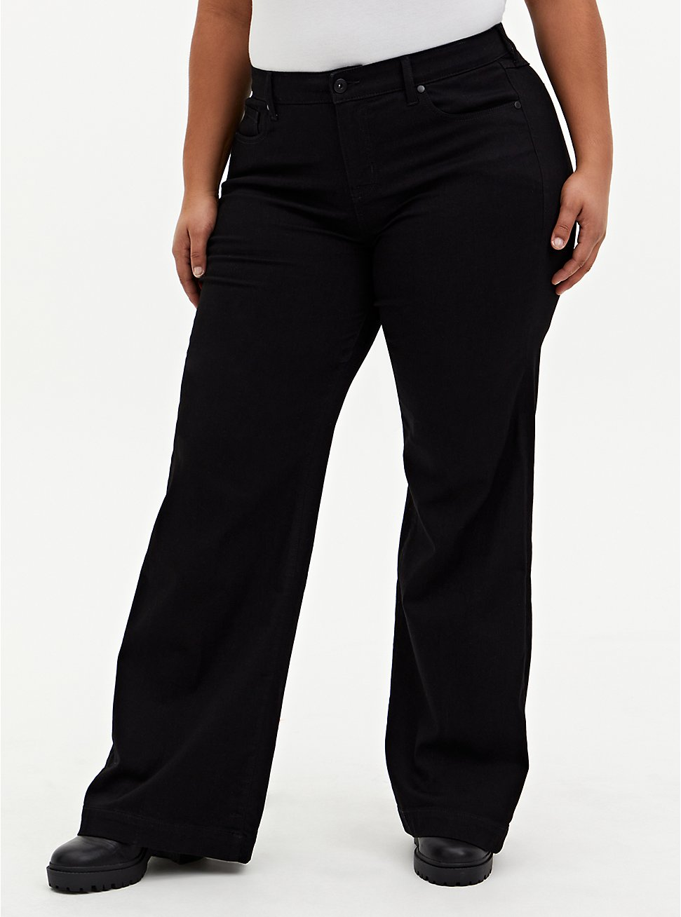 Plus Size High Rise Wide Leg Jean - Super Soft Black, DEEP BLACK, hi-res