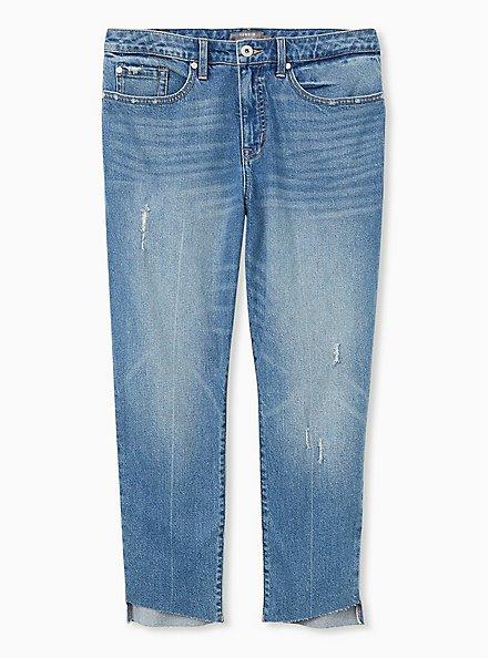 High Rise Straight Jean - Light Wash with Step Hem, WASHBACK, hi-res
