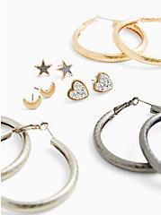 Silver and Gold-Tone Stud & Hoop Earrings Set - Set Of 6, , alternate
