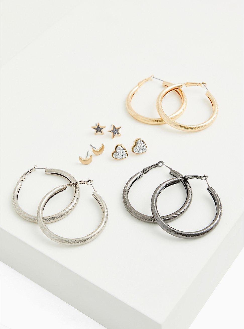 Silver and Gold-Tone Stud & Hoop Earrings Set - Set Of 6, , hi-res