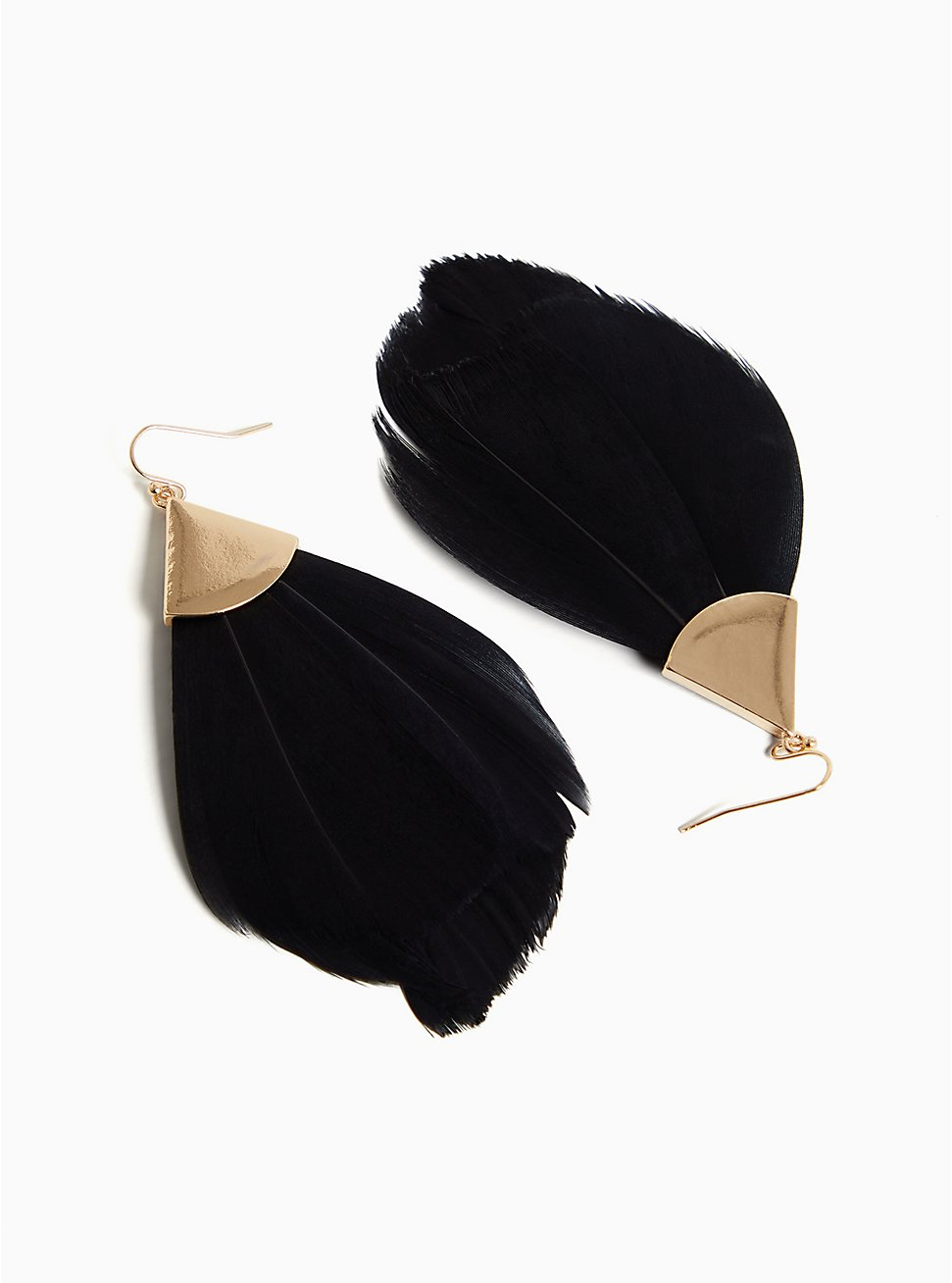 Gold-Tone & Black Feather Statement Earrings, , hi-res