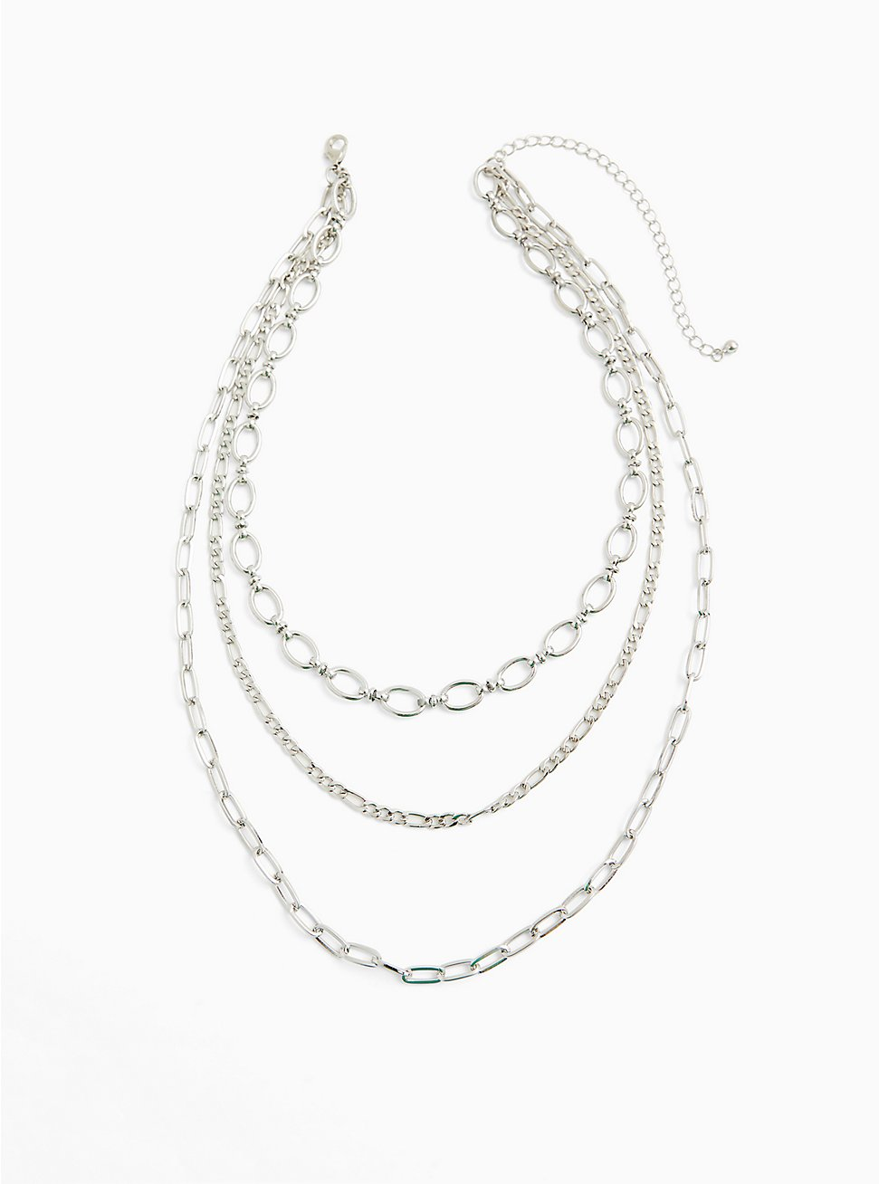 Silver-Tone Link Layered Necklace, , hi-res