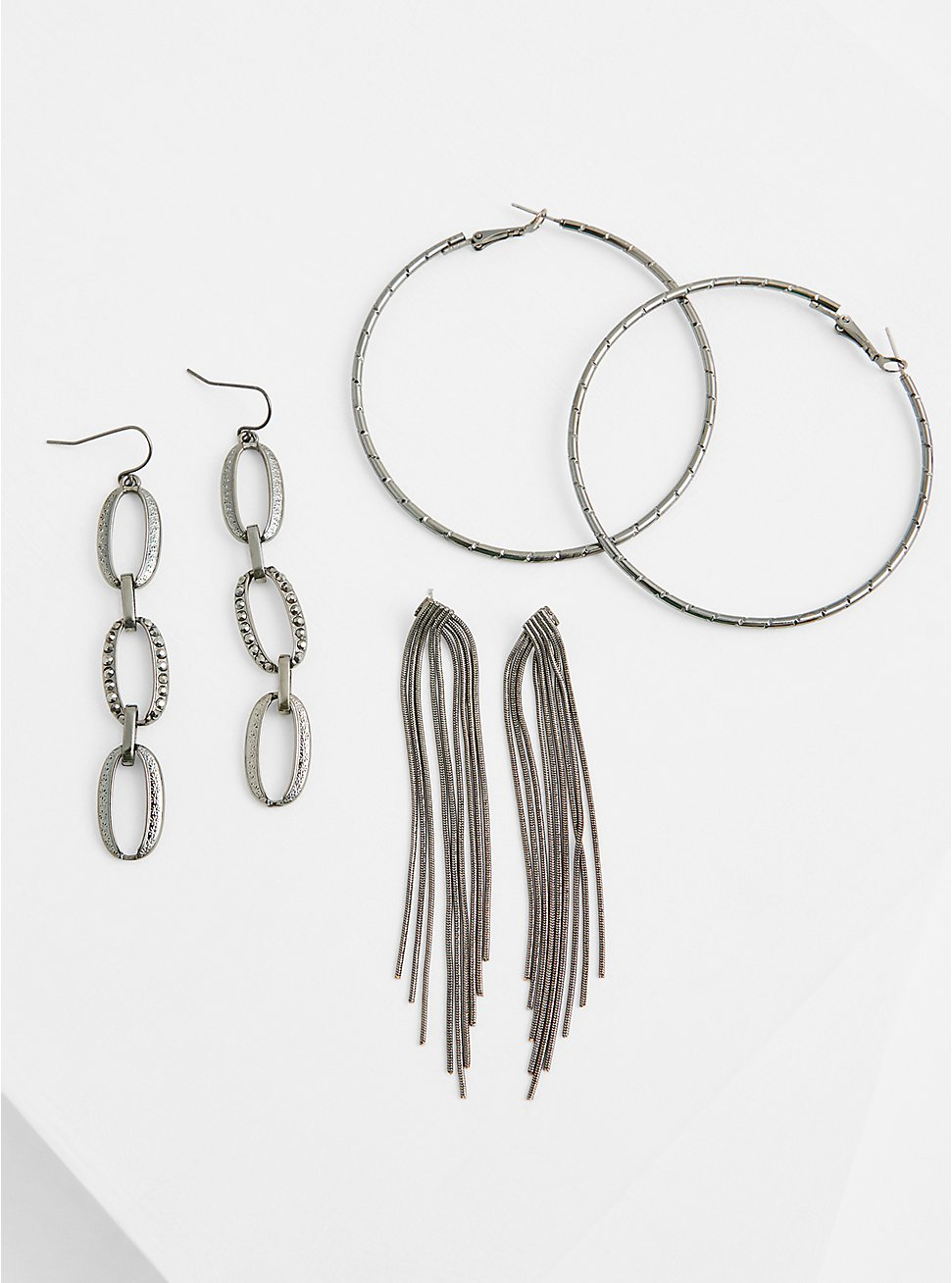 Burnished Silver-Tone Fringe Earrings Set - Set of 3, , hi-res